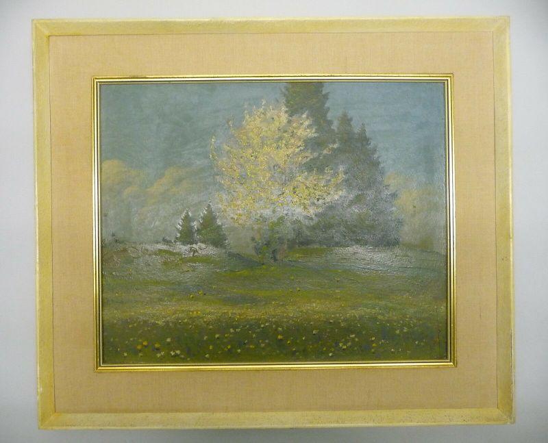 Ölgemälde Landschaft mit blühendem Baum Vogtland / Richard Sachs 1932