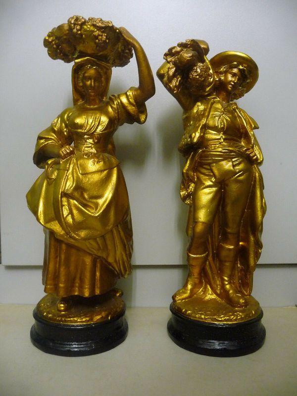 2 Dekofiguren Figurenpaar Ernte Mann und Frau goldfarben