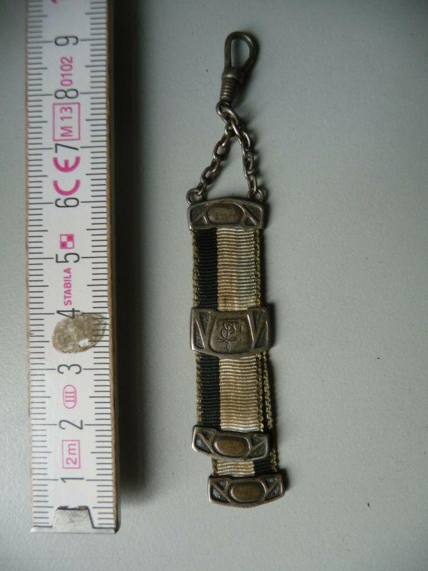 Miniatur-Zipfel Bierzipfel Silber Studentika Band schwarz-weiß-blau 1932