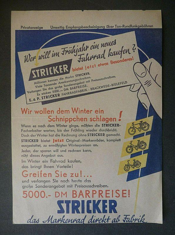 Reklame-Anzeige Stricker Fahrrad / Einzahlungsbeleg Bayerischer Rundfunk 1957