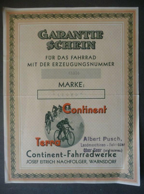 Orig. Garantieschein Fahrrad Continent Terra / Warnsdorf / Varnsdorf ca. 1940