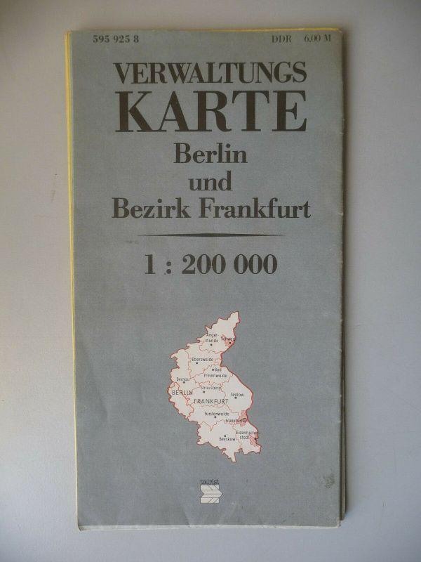 Landkarte Verwaltungskarte Berlin Bezirk Frankfurt DDR 1984