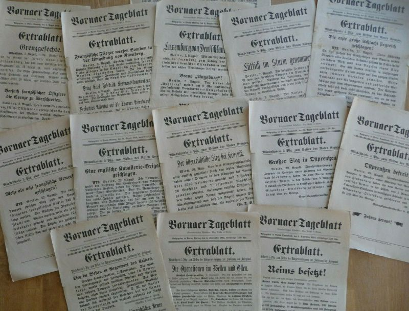 Zeitungs-Aushangzettel Extrablatt Boernaer Zeitung / Erster Weltkrieg 1914