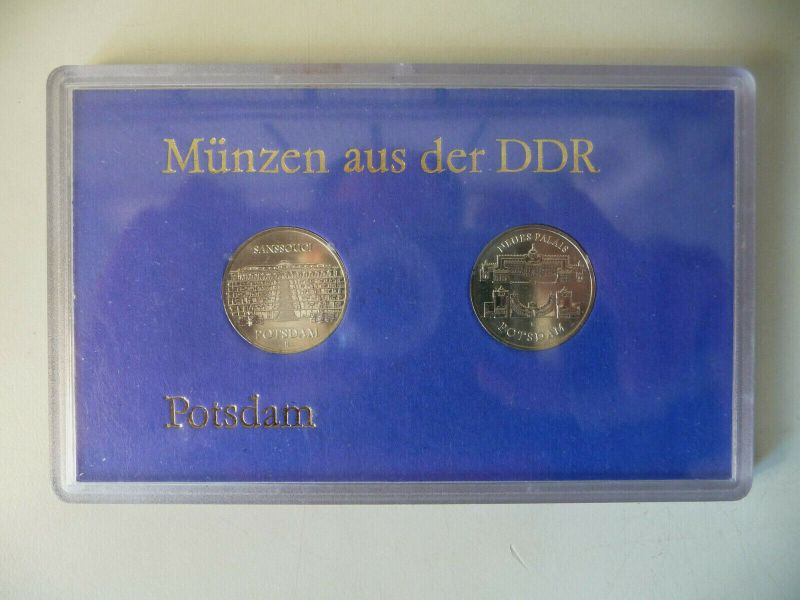 2 x 5 DDR-Mark Gedenkmünze Potsdam Sanssouci Neues Palais in Blister 1986
