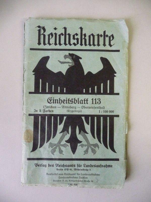 Reichskarte Einheitsblatt 113: Zwickau Annaberg Oberwiesenthal Erzgebirge 1936