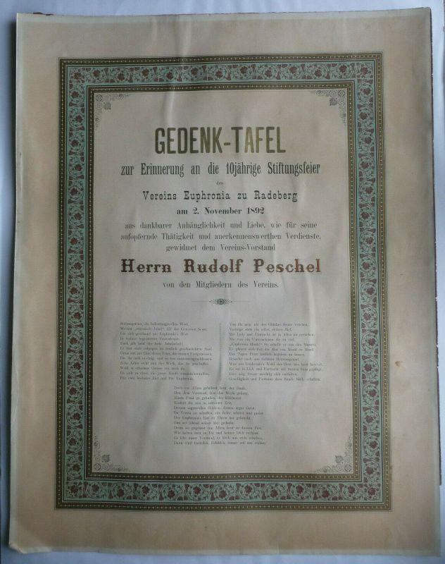 Große Urkunde Gedenktafel zum 10jährigen Jubiläum Verein Euphronia Radeberg 1892