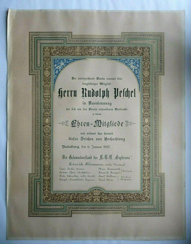 Große Urkunde Ehrenmitglied KVN Euphronia Radeberg 1897