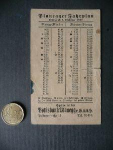 Fahrplan Zettel Planegg - München 1937
