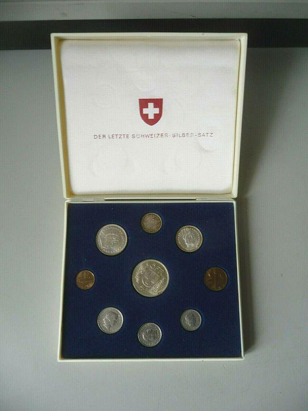 Kursmünzensatz Schweiz 1967 in Etui / Letzter Schweizer Silber-Satz