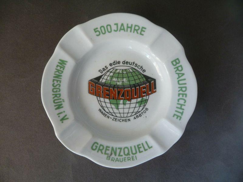 Aschenbecher mit Reklame Grenzquell Brauerei Wernesgrün Porzellan