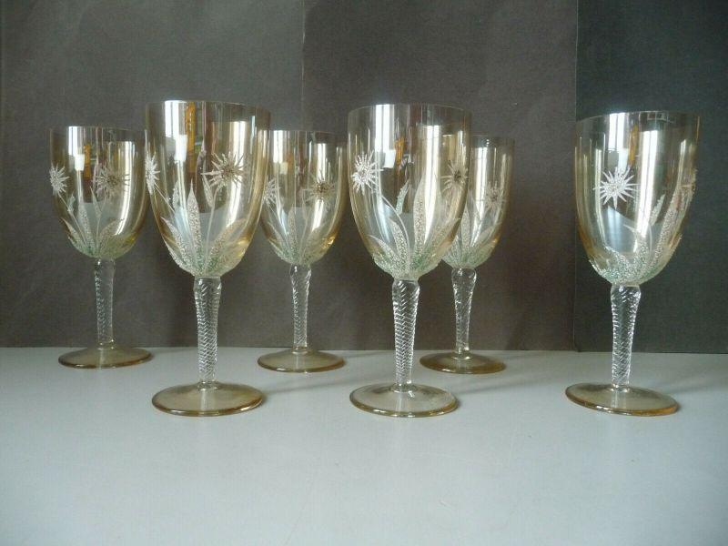 6 x Weinglas Gläser mit Blumendekor Glitzerbesatz