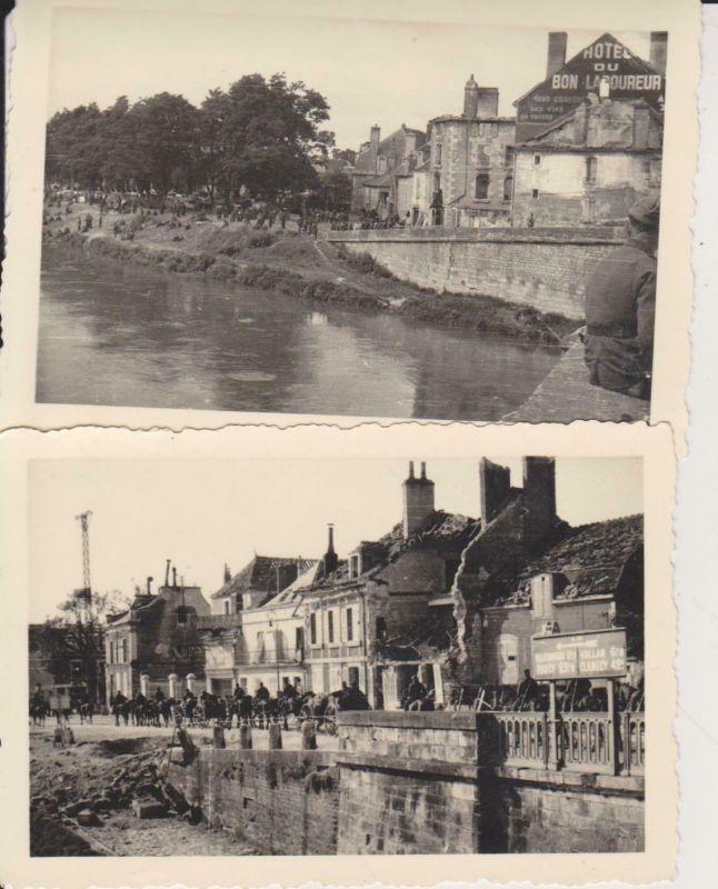 2  x Orig. Foto Kriegszerstörung Frankreich Auxerre ? Yonne? ca. 1940