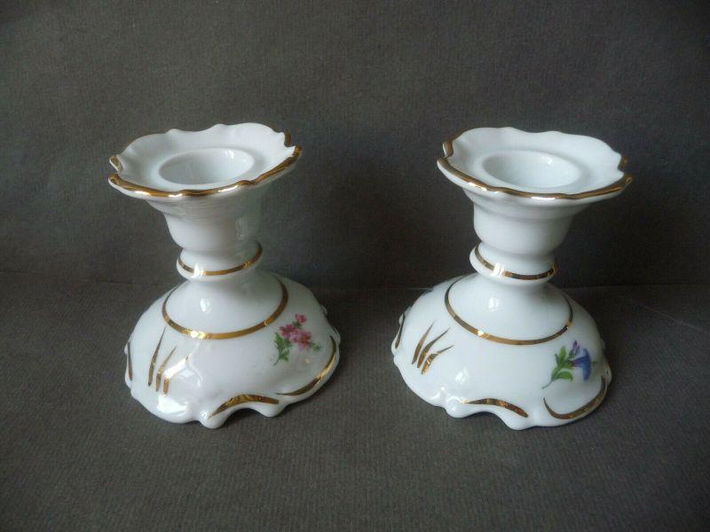 2 x Kerzenhalter Kerzenständer Blumendekor / Thüringer Porzellanmanufaktur ADC 0