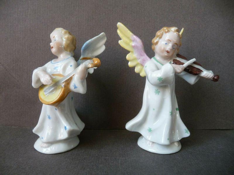 6 kleine Porzellanfiguren musizierende Engel Kapelle 1