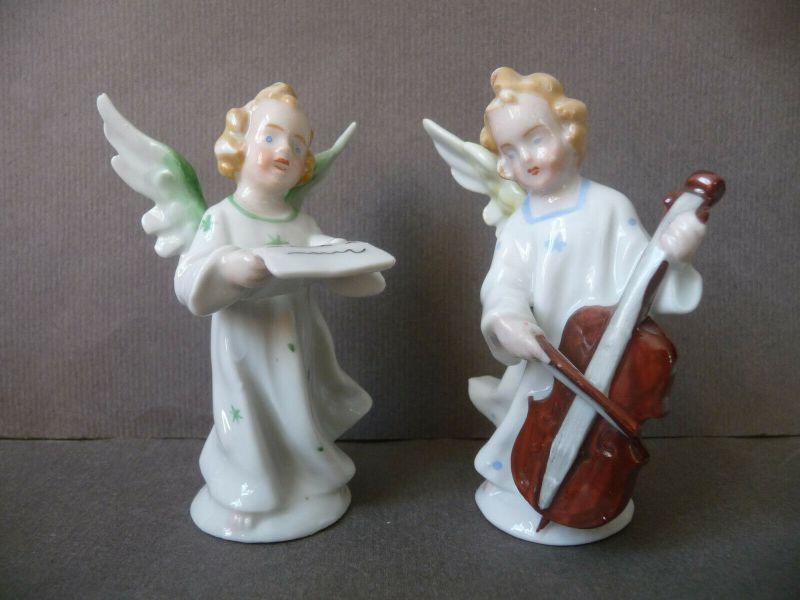 6 kleine Porzellanfiguren musizierende Engel Kapelle 3