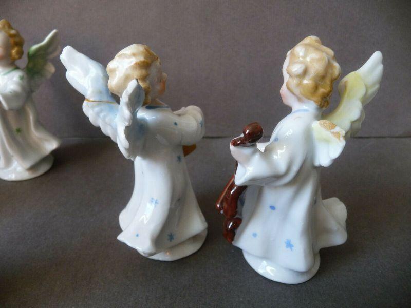 6 kleine Porzellanfiguren musizierende Engel Kapelle 4