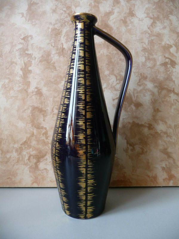 Schlanke Vase Blumenvase Kobaltblau abstrakter Dekor / Volkstedt Porzellan