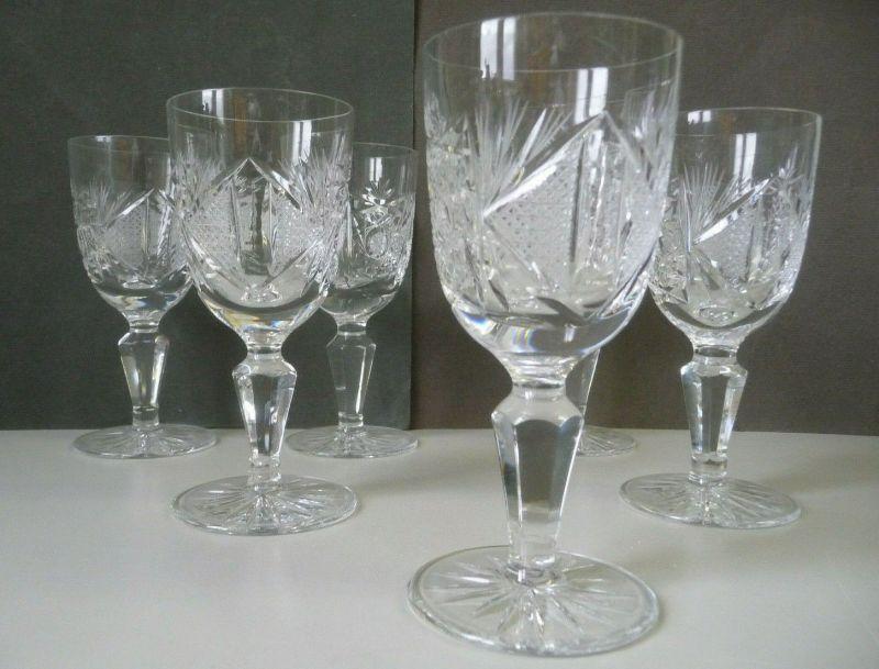 6 Weingläser Weißweinglas Sektglas Kristallglas Schliffdekor