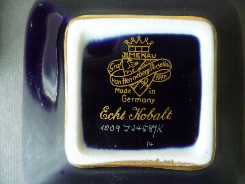 Porzellandose Schmuckdose Kobaltblau Goldrand/ Ilmenau Graf Henneberg Porzellan 3