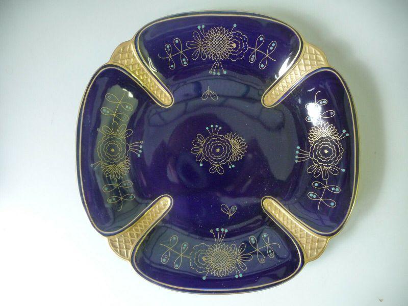 Zierteller Kobaltblau Golddekor / Ilmenau Graf Henneberg Porzellan