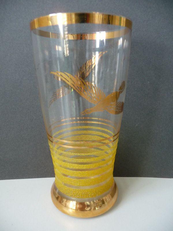 Glas mit Dekor Vögel Streifen Goldrand