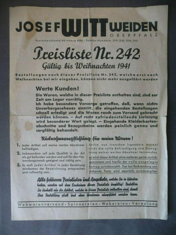 Preisliste mit Bestellschein / Josef Witt Webwarenversand Weiden Oberpfalz 1941