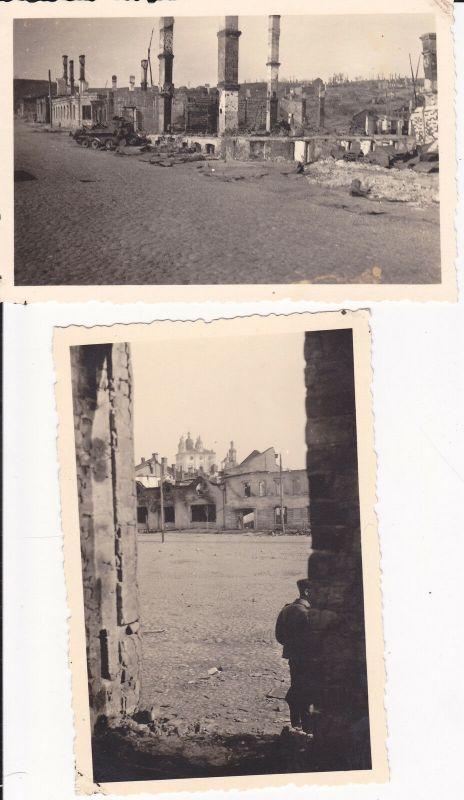 2 Orig. Fotos Smolensk Russland Kriegszerstörungen WKII ca. 1941