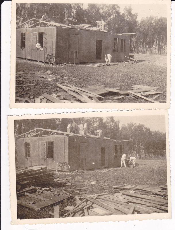2 Orig. Fotos Laupheim Oberschwaben Bodenfunkstelle Soldaten WKII 1944