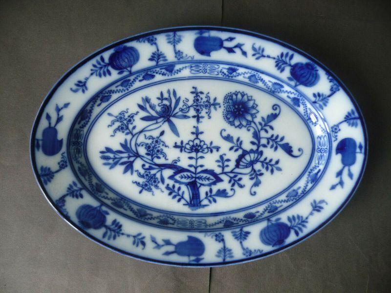 Ovale Servierplatte Platte Zwiebelmuster Keramik / Villeroy und Boch Dresden(II)