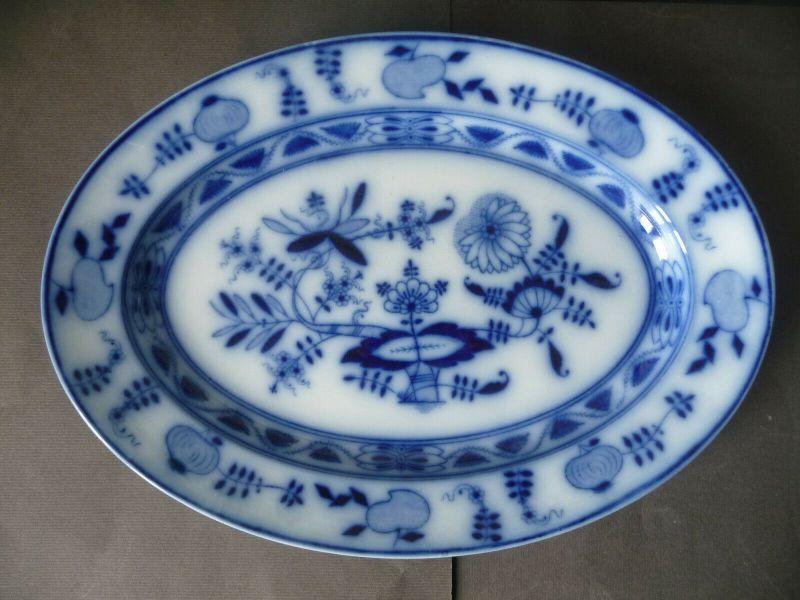 Ovale Servierplatte Platte Zwiebelmuster Keramik / Villeroy und Boch Dresden (I)