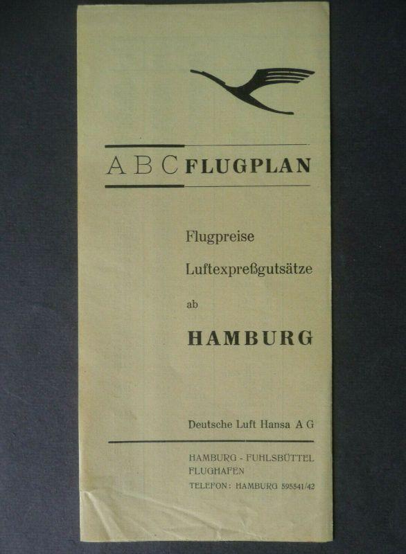 ABC Flugplan Flugpreise ab Hamburg / Lufthansa ca. 1935