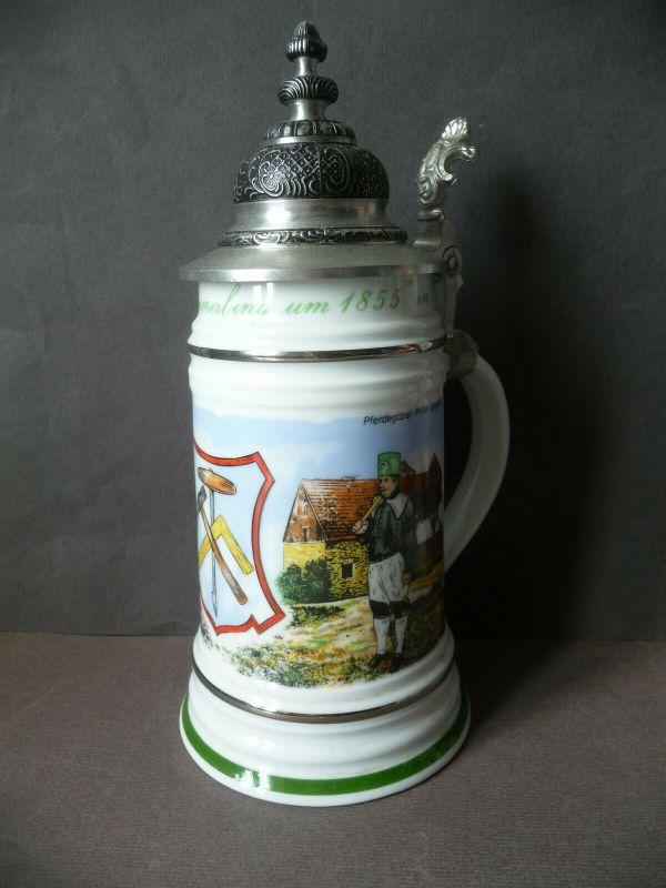 Zierkrug Bierkrug mit Zinndeckel / Bergbau Pferdegöpel / Freiberg Porzellan