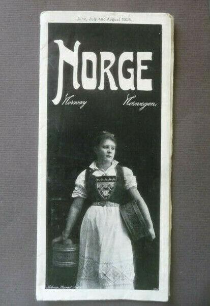 Landkarte Norwegen / Norge Reiserouten Tourismus 1906