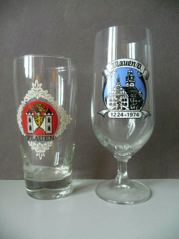 2 kleine Biergläser Andenkengläser Plauen / Vogtland DDR