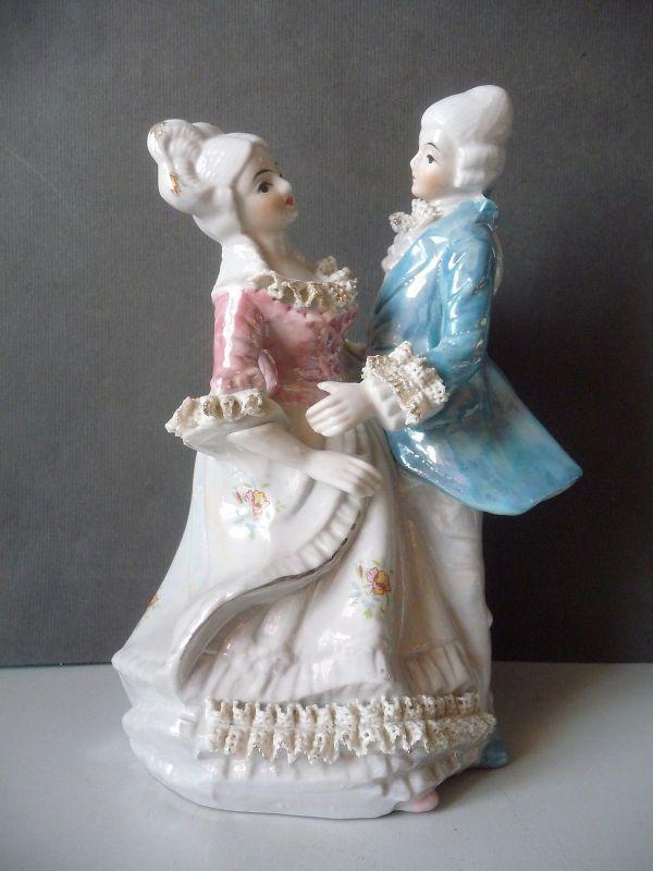 Porzellanfigur Barock-Pärchen Kavalier und Dame / Nijhof handbemalt
