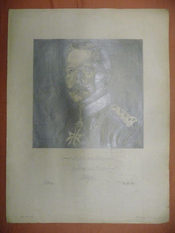 Orig. Handzeichnung Porträt Kaiser Wilhelm / Hans Wensauer 1915