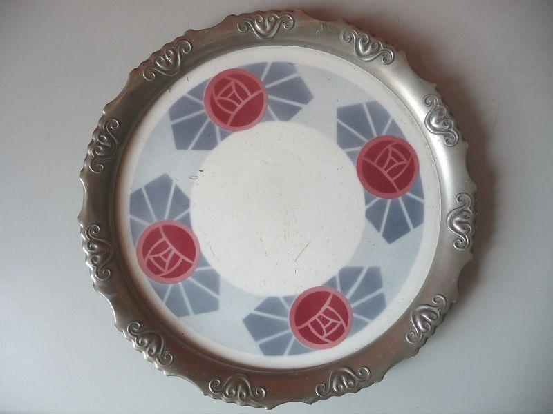 Rundes Tablett Keramik / Metall stilisierte Blüten Jugendstl / Art Déco