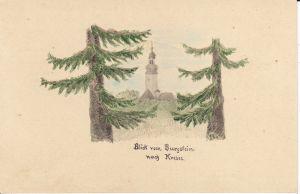 Orig. Postkarte mit Handzeichnung Burgstein Krebes Vogtland
