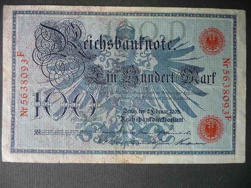 Reichsbanknote 100 Mark 1908 Nr. 5638093F
