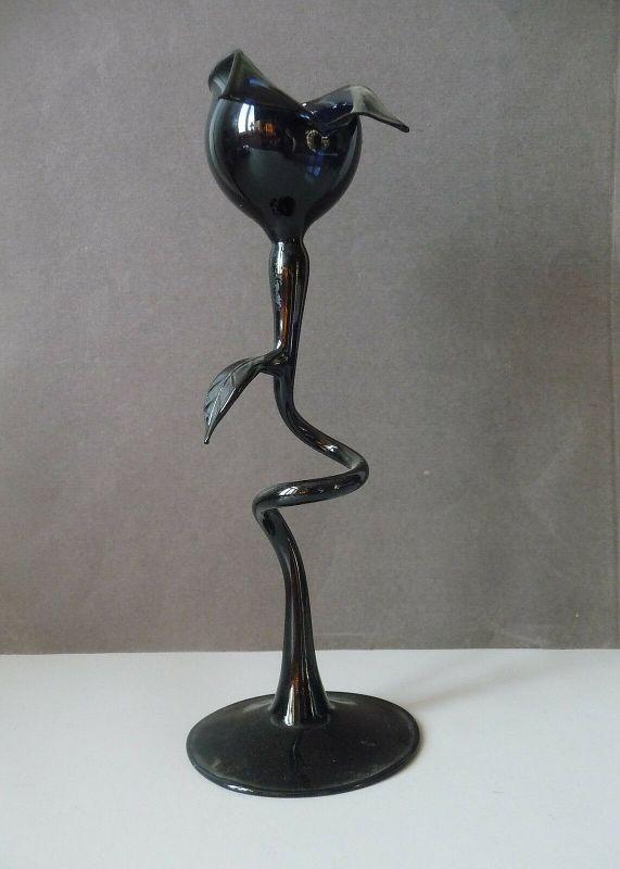 Originelle Glas-Deko Schwarze Blume modernes Design