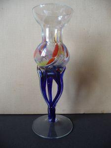 Originelle Stielvase Vase Glaskunst DDR