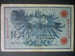 Reichsbanknote 100 Mark 1908 Nr. 9571470D