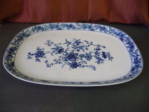 Platte Servierplatte Blumendekor blau Kobalt Landhausstil / Krautheim Porzellan