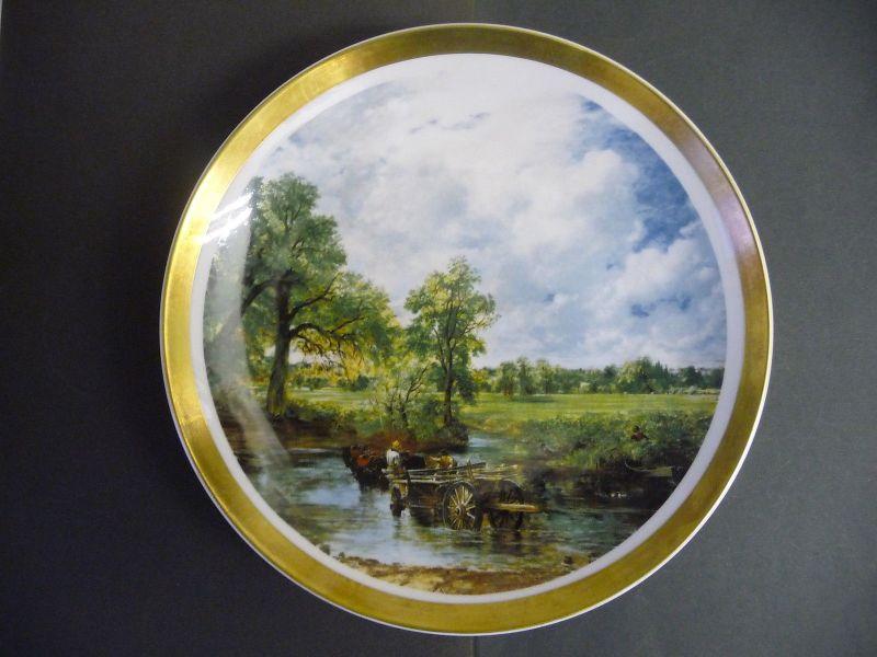 Zierteller Sammelteller Landschaft Karren im Fluss Holland/ Eschenbach Porzellan