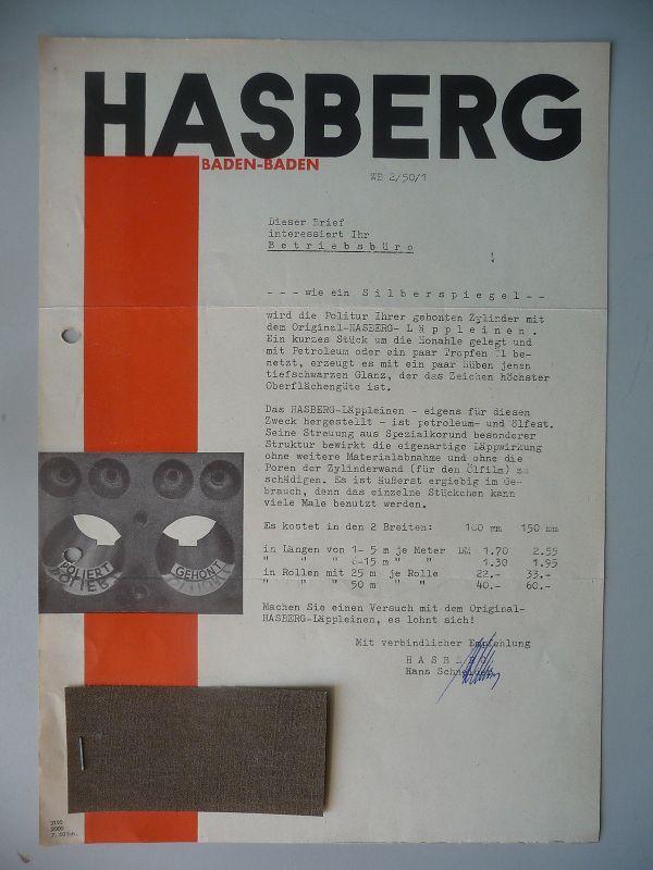 Orig. Reklame Brief Hasberg Baden-Baden Läppleinen Schmirgelpapier m. Warenprobe