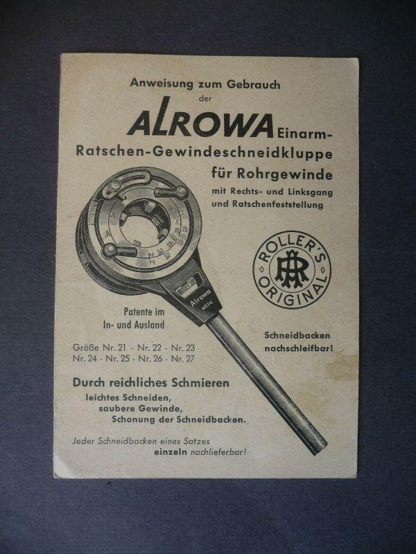Gebrauchsanweisung Aroma Gewindeschneider Schneideisen Kluppe ca. 1940