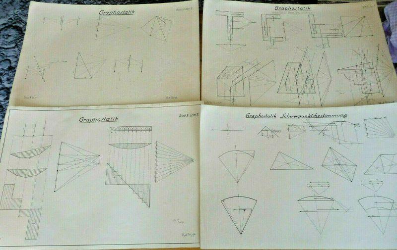 4 x technische Zeichnung Graphostatik Schwerpunktbestimmung / Berlin 1926