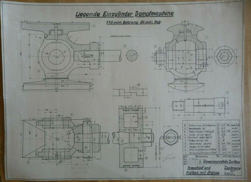 Alte technische Zeichnung  Dampfmaschine / Ingenieurschule Zwickau 1926