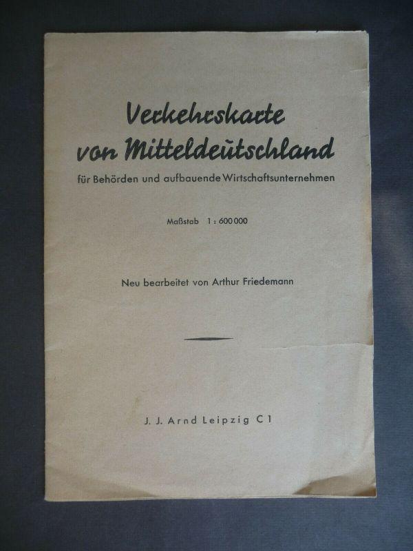 Verkehrskarte von Mitteldeutschland für Behörden Unternehmen ca. 1950
