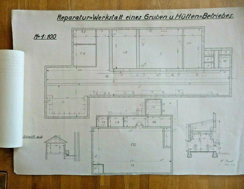 Alte Architektur-Zeichnung Grundriss Reparaturwerkstatt Berlin 1934